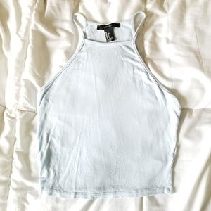 Forever 21 Crop Top, High Neck, Blue, Small
